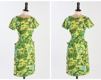 Vintage 1950s 50s Green Floral Wiggle Dress UK10/US6
