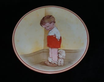 """1988 Davenport Attwell's Silver Linings """"Thank God For Fido"""" Collector Plate by Mabel Lucie Attwell"""