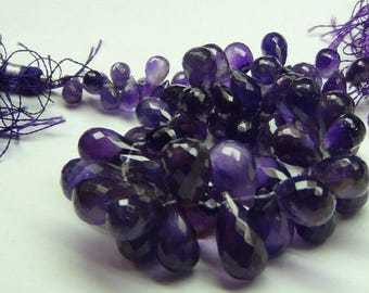 234 cts amethyst faceted FACYTED BRIOLETTE DROPS necklace in gemstone