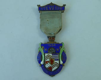 Royal Masonic Institute For Boys Sterling Silver Jewel Steward 1934 Vintage