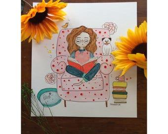 Bookworm Girl, Bookish illustrations, bookish gifts