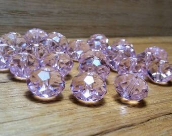 Pink Faceted Crystal Glass Rondelle Beads 12x8mm, 24ct.