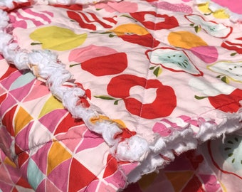Organic Quilt - Organic Baby Quilt - Toddler Rag Quilt -  Girl Quilt - Baby Shower - Girl Birthday - New Mom - Apples - Tulips