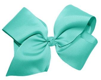 """New 5.5"""" Aqua Grosgrain Girls Hair Bow"""