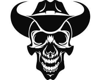 Cowboy Skull #7 Skull Grin Hat Country Western Herder Rodeo Bull Riding Old West Wrangler Logo .SVG .EPS .PNG Vector Cricut Cut Cutting File