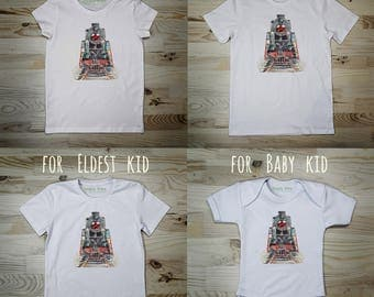 T-shirt for Women, T-shirt Locomotif, T-shirt Train, Tshirt Railway, Tshirt Steam, Tee Car, Watercolor Print, Gift for Her, Family Look, Car