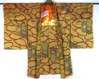 Vintage Japanese Haori / Kimono Jacket / Meisen / Kolon / Gosho-Guruma