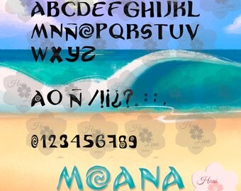 Inspired by ttf, moana, vaiana, font, font type of letter