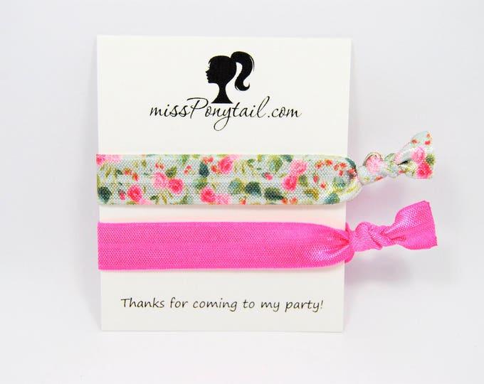 Birthday Party Favor Hair Ties, Floral Hair Ties, Hot Pink, Handmade Trendy Ponytail Holders Knotted Elastic Hair Ties