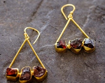 Gold Hoop Earrings with Garnets
