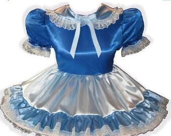 50% OFF SALE Cynthia CUSTOM Fit Blue Satin Adult Lg Baby Sissy Dress Leanne