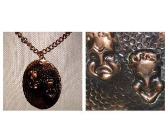 On Sale Genuine Copper Comedy/Tragedy Pendant Necklace