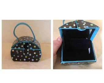 Anniversary Sale Vintage 80's Mini Blue Polka Dot Purse