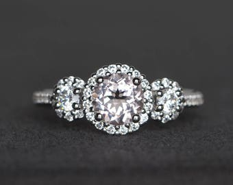 engagement ring natural pink morganite ring round cut gemstone sterling silver ring