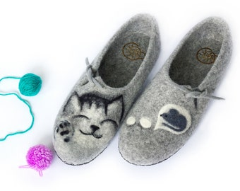 Slippers Felted Women Wool Natural Cat and Mouse Mothers Day Felt House Organic Home Gray Shoes Eco Friendly Clogs Pet Lover Birthday Gift