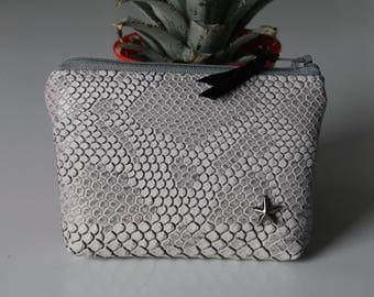 Wallet / gray croco leather card holder and Star