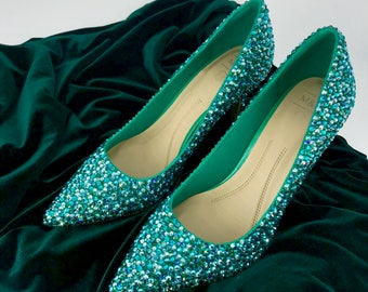Swarovski Crystal Embellished shoes - match your outfit! - ANY colour mix - Prom Bridal Occasion - Heels Pumps Stilettos Shoes