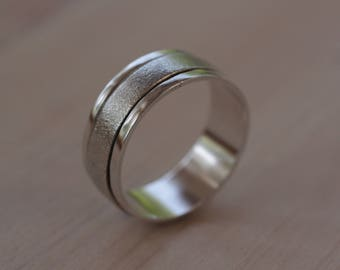 Wedding Ring Silver Hammered & Brushed, Hammered and Satin Brushed Silver Wedding Band 925 Sterling Silver, contemporary jewelry
