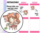 Paula - Crafting Planner Stickers, Kawaii Stickers, Character Stickers, Hand drawn Stickers, Chibi Planner Stickers
