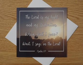Bible Verse - Quote - Photography Greetings Card - 148 x 148 - Psalm 27 - Blank Inside - Any occasion