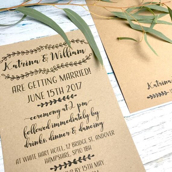 Boho wedding invitation set, Boho chic wedding invite set, Rustic wedding invites suite, Bohemian wedding invitation suite A5 or A6