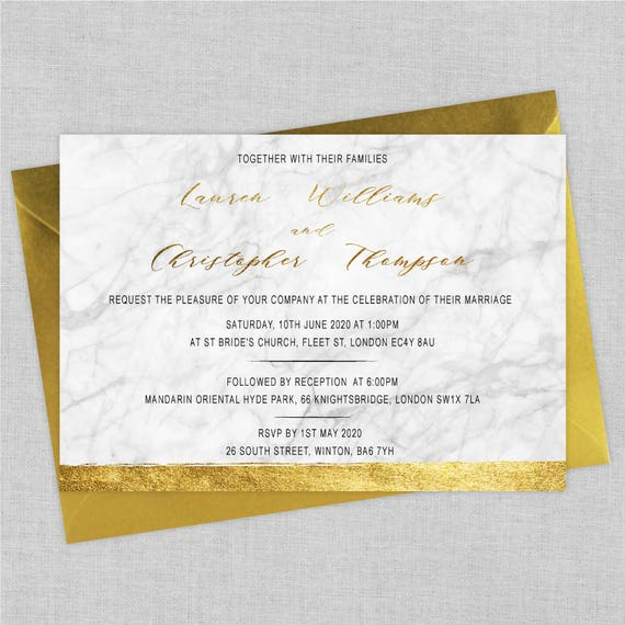 Modern marble wedding invitations, Marble wedding invites, Gold and grey wedding invitations, Elegant wedding invitations, A5
