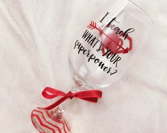 LARGE  teacher wine glass; teacher appreciation; teacher gift
