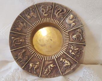 On Sale, Chinese Astrology, Chinese Horoscope, Chinese Zodiac, Metal Dish, Metal Ashtray, Chinese Zodiac Plate, Metal Plate, Zodiac Plate