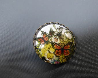 Cabochon vintage Butterfly brooch