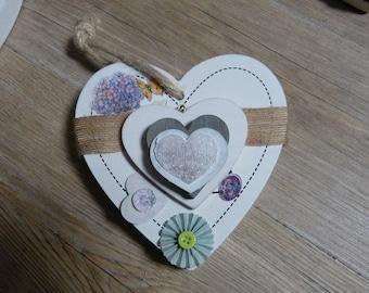 Heart wooden decoration