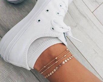 Disc Coin Chain Anklet, 14k Gold Fill Anklet, Chain Anklet, Gold Anklet