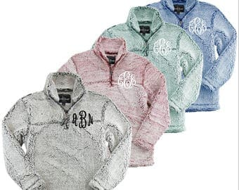 Youth + Monogrammed + Quarter Zip + Sherpa Jacket + Pullover || Southernstitchco.