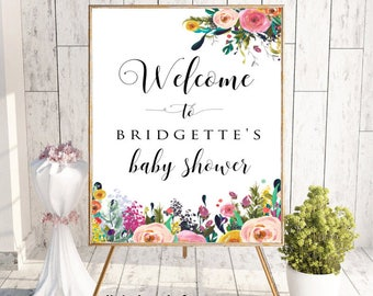 Welcome To Baby Shower, Welcome Shower Sign, Floral Baby Shower Sign, Welcome Sign, Custom Welcome Sign, Printable Welcome Sign, Boho Chic