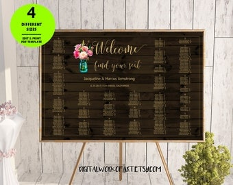 Mason Jar Seating Chart Template Printable, Floral Wedding Seating Board, Editable Seating Chart Plan Poster, Editable PDF Instant Download