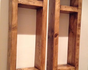 A Pair of Rustic Wall Display Units