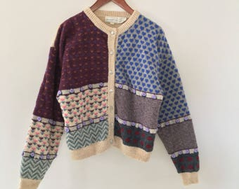 vintage 80's-90's patchwork sweater// shetland wool// burgundy, blue, cream with applique flowers// size large