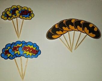 12 Batman paper Cupcake toppers