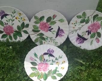 Vintage Blue Ridge Hand Painted Underglaze Southern Potteries Inc Plate Set, Set of 4 Vintage Floral Plates, Retro Plates, Collectible Plate