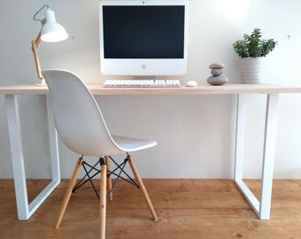 SOLID OAK DESK - Solid  Oak and Steel Desk