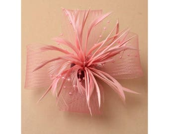 Pink Fascinator Pink looped net & feather flower fascinator on a forked clip and brooch pin. Wedding Fascinator, Prom, Races, Party, Corsage