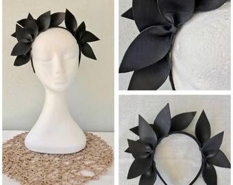 Ladies black leather crown headband fascinator