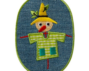 Patch/ironing-Children's jeans patch scarecrow-Green-9.8 x 7.1 cm-by catch-the-Patch ® patch appliqué applications for ironing application patches patch