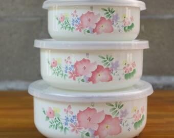 Vintage Interpur Made in Taiwan Floral Metal Tupperware Mixing Bowls  Set of 3