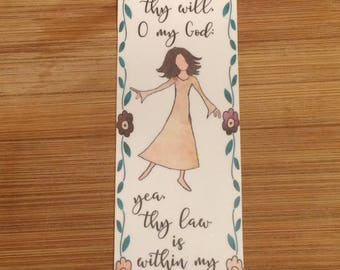 Bible Verse Bookmark - Psalm 40:8 - handmade WITHOUT tassel  (stock #28) delight to do thy will