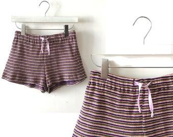 "Knit hot pants S / M ""Poppy"" vintage drawstring shorts, missoni high waisted hot pants, elastic waist 26"" 27"" 28"", boho 80s clothing"