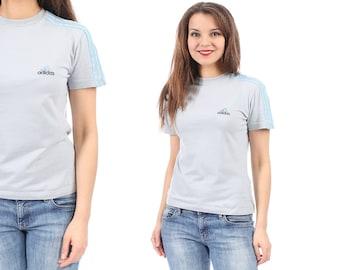 Classic Adidas Sport T Shirt 90s Made In Italy European Quality THREE STRIPE Yoga Sports Hipster Retro Tee Grey Blue Men Women Vintage S M