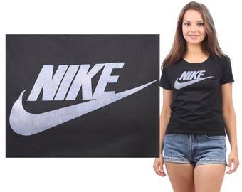 NIKE T Shirt 80s Spellout Logo TShirt Athletic Shirt Sports Tee Athletic Black Retro Vintage 1980s Cotton Medium