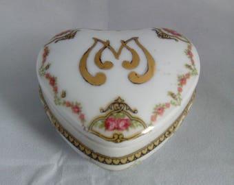 Limoges French porcelain heart shaped trinket box.
