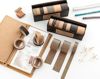 Set of 8 Kraft Paper Washi Tape Series - Planner, Journal, Craft, Scrapbooking, Decoration
