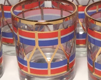 Fabulous Nautical Lowball Drinking Glass Set / Sailing Drinking Glasses / Red, White, Blue, Gold Drinking Glasses